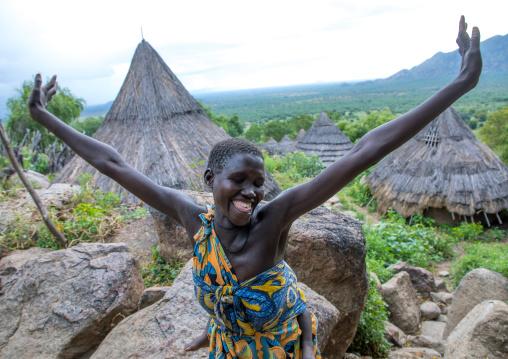 Lotuko tribe woman performing a welcome dance, Central Equatoria, Illeu, South Sudan