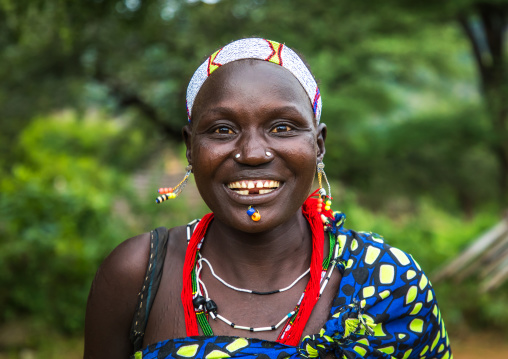 Portrait of a smiling Larim tribe woman, Boya Mountains, Imatong, South Sudan