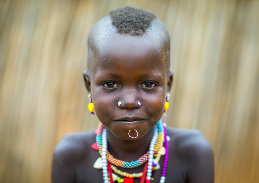 Portrait of a Larim tribe girl with necklaces, Boya Mountains, Imatong, South Sudan