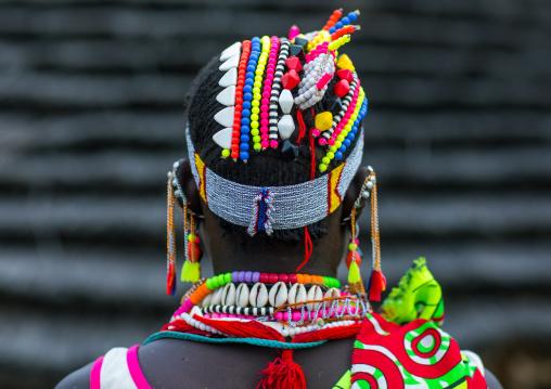 Portrait of a Larim tribe woman wearing a decorated headwear, Boya Mountains, Imatong, South Sudan