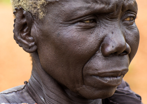 Lotuko tribe old woman with the ears cut in the same way they do to their cows as decoration, Central Equatoria, Illeu, South Sudan