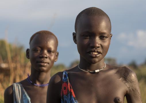 Portrait of Mundari tribe teenage girls, Central Equatoria, Terekeka, South Sudan