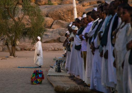 Sudanese sufi men praying in Khatmiyah  mosque, Kassala State, Kassala, Sudan