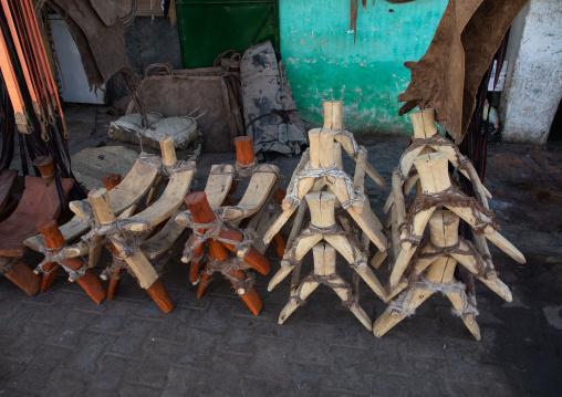 Donkeys pack saddles for sale in the market, Kassala State, Kassala, Sudan