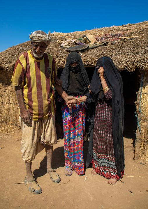 Rashaida old man with his veiled wives, Kassala State, Kassala, Sudan