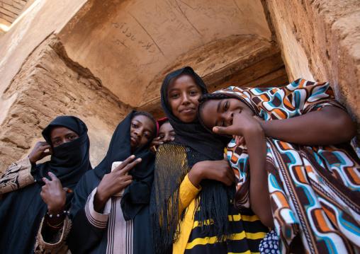 Sudanese girls in the Khatmiyah  mosque prayer hall, Kassala State, Kassala, Sudan