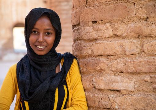 Smiling sudanese girl in Khatmiyah  mosque, Kassala State, Kassala, Sudan