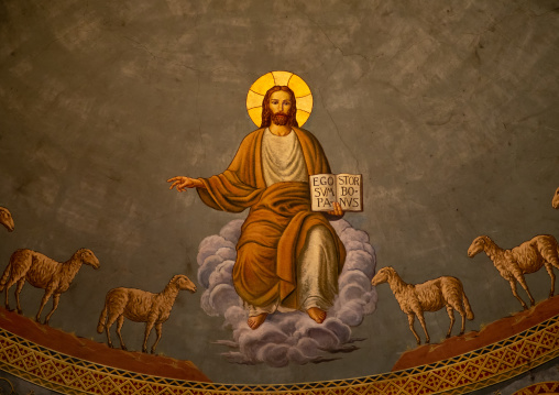 Jesus with sheeps fresco in st Matthew cathedral built by italian architects, Khartoum State, Khartoum, Sudan