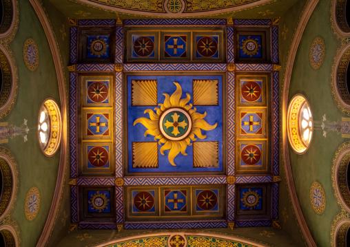 Painted ceiling of St Matthew cathedral built by italian architects, Khartoum State, Khartoum, Sudan