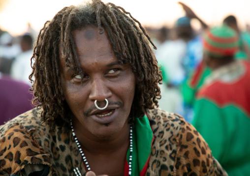 Sudanese man with a nose ring during friday sufi celebration at sheikh Hamad el Nil tomb, Khartoum State, Omdurman, Sudan