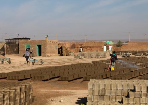 Craft manufacturing of mud bricks, Khartoum State, Omdurman, Sudan
