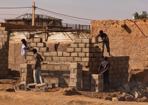 Sudanese men building a house in a village, Khartoum State, Omdurman, Sudan