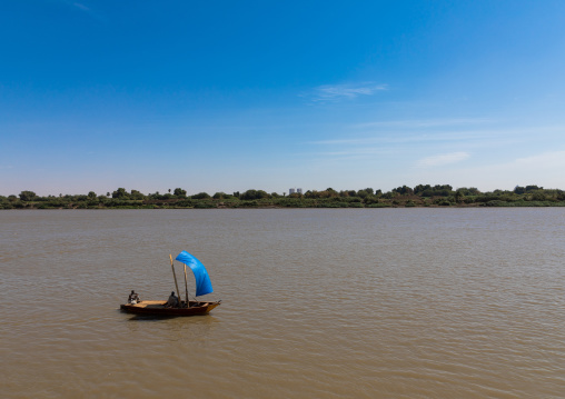 Small boat on river Nile, Khartoum State, Khartoum, Sudan