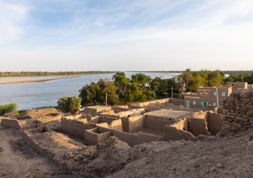 Old mudbrick houses on river Nile, Northern State, Al-Khandaq, Sudan