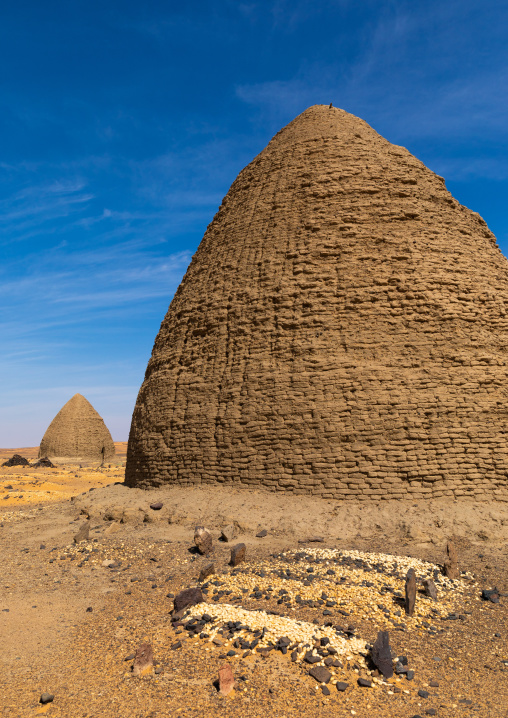 Muslim graves in front of beehive tombs, Nubia, Old Dongola, Sudan