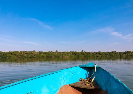 Blue boat on river Nile, Northern State, El-Kurru, Sudan