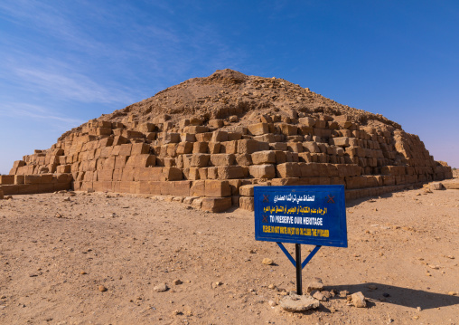Warning billboard in front of the pyramid in the royal cemetery, Northern State, El-Kurru, Sudan