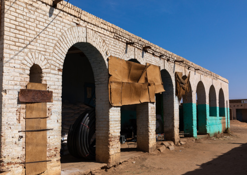 Arcades of the old colonial market, Northern State, Karima, Sudan