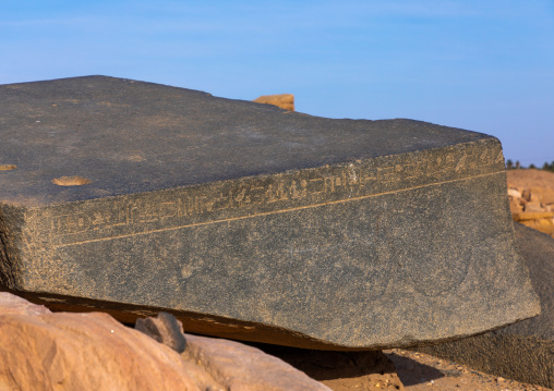 Hieroglyphs in the temple of Amun in the holy mountain of jebel Barkal, Northern State, Karima, Sudan