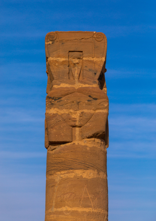 Hathor columns in the outer courtyard of the temple of mut at jebel Barkal, Northern State, Karima, Sudan