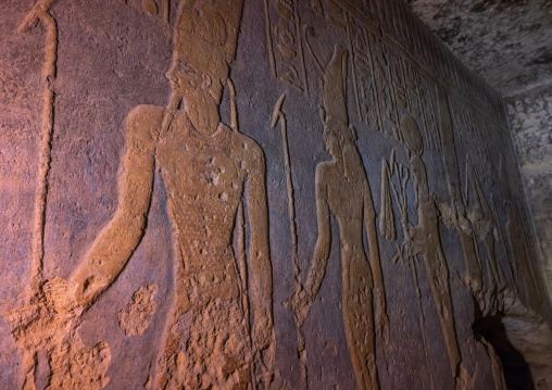 Restored painting of the cobra in the rock-chamber in jebel Barkal, Northern State, Karima, Sudan