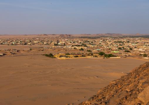Cityscape from jebel Barkal top, Northern State, Karima, Sudan