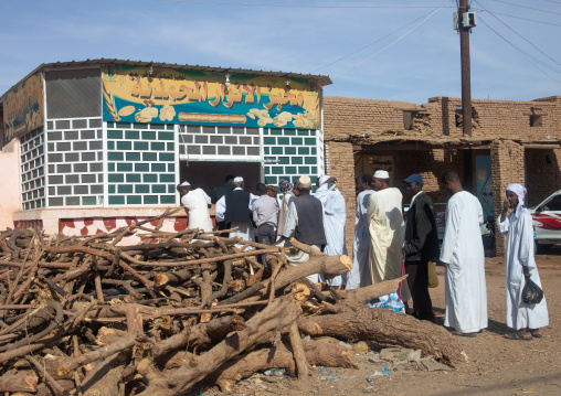 Sudanese people queue on line at a bakery during the crisis, Northern State, Karima, Sudan
