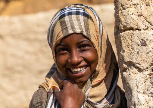 Portrait of a bisharin nomad girl Atrun crater, Bayuda desert, Atrun, Sudan