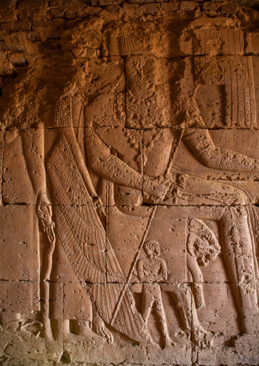 Relief inside a pyramid of the kushite rulers at Meroe, Northern State, Meroe, Sudan