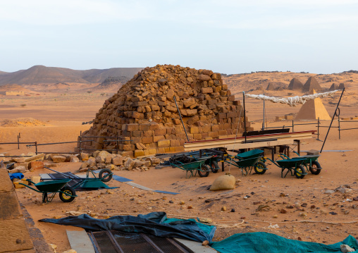 Renovation of the pyramids of the kushite rulers at Meroe, Northern State, Meroe, Sudan
