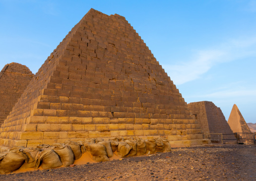 Sand bags protection a pyramids of the kushite rulers at Meroe, Northern State, Meroe, Sudan