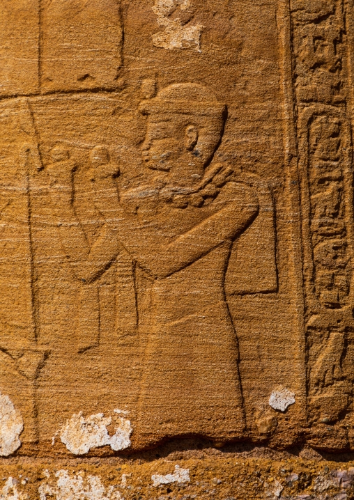 Column with hieroglyphs and reliefs in Amun temple, Nubia, Naqa, Sudan