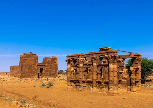 The roman kiosk and the temple of Apedemak, Nubia, Naqa, Sudan