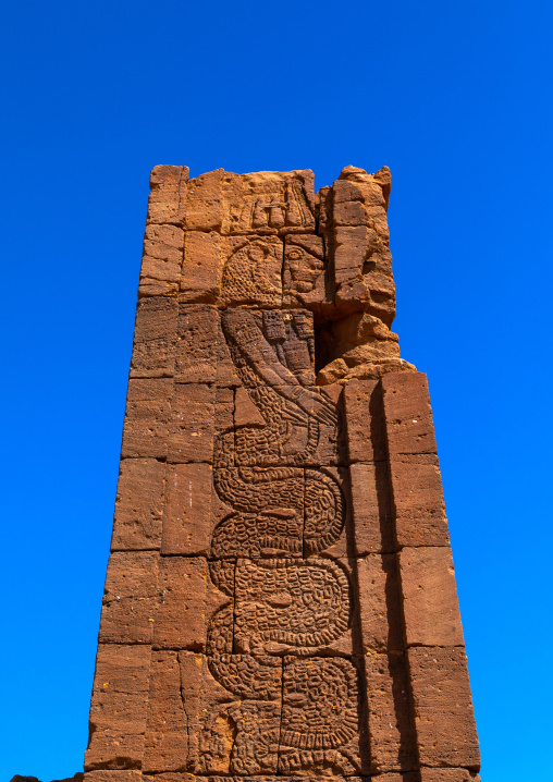 Apedemak as a coiled snake with lion head in temple of Apedemak, Nubia, Naqa, Sudan