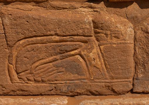 Relief decpictinga foot in a sandal in Musawwarat es-sufra meroitic lion temple, Nubia, Musawwarat es-Sufra, Sudan