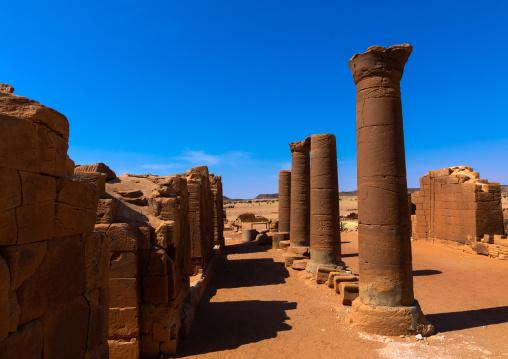 Columns in the great enclosure in Musawwarat es-sufra meroitic temple complex, Nubia, Musawwarat es-Sufra, Sudan