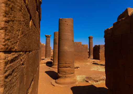 Columns in the great enclosure in Musawwarat es-sufra meroitic temple complex, Nubia, Musawwarat es-Sufra, Sudan