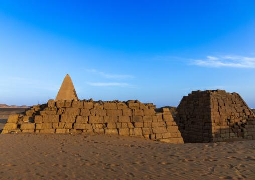 Pyramids and tombs in royal cemetery of Bajrawiya, Northern State, Meroe, Sudan