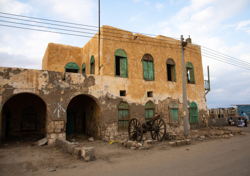 Old building with a wooden balcony on mainland, Red Sea State, Suakin, Sudan