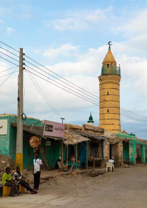 Old building and mosque on mainland, Red Sea State, Suakin, Sudan