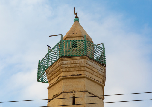 Wooden balcony at the top of a mosque minaret, Red Sea State, Suakin, Sudan