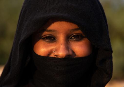 Portrait of a Rashaida tribe veiled woman, Red Sea State, Suakin, Sudan
