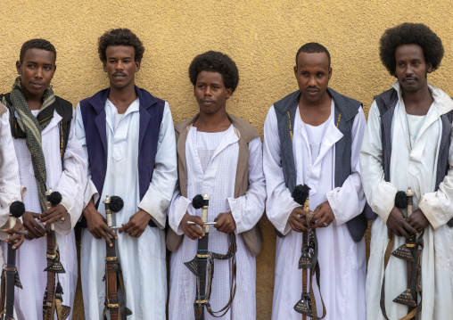 Beja tribe warriors with their swords, Red Sea State, Port Sudan, Sudan