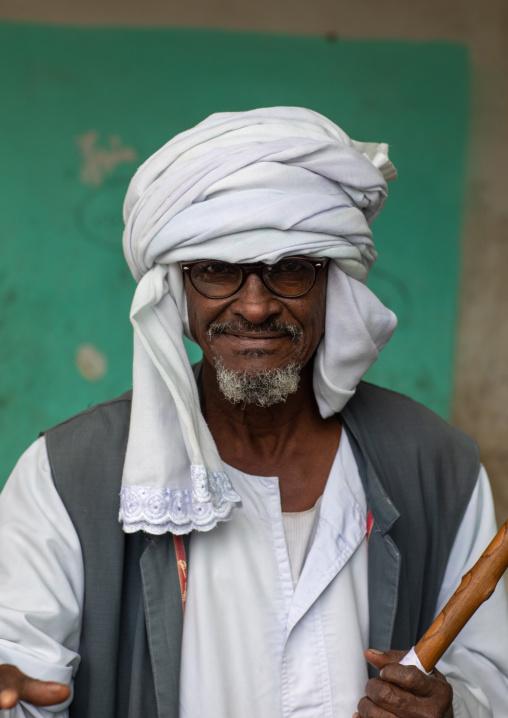 Portrait of a Beja tribe man, Red Sea State, Port Sudan, Sudan