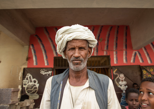 Portrait of a Beja tribe man in the street, Red Sea State, Port Sudan, Sudan