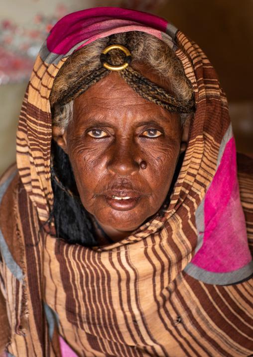 Portrait of a Beja tribe woman, Red Sea State, Port Sudan, Sudan