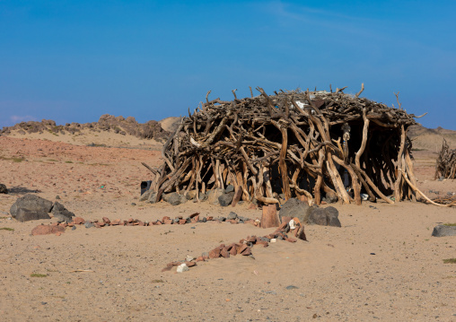 Wooden Beja house in an arid landscape, Red Sea State, Port Sudan, Sudan