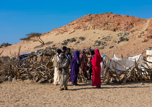 Beja tribe people in a traditional village, Red Sea State, Port Sudan, Sudan