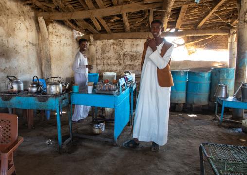 Sudanese men in a restaurant, Kassala State, Kassala, Sudan