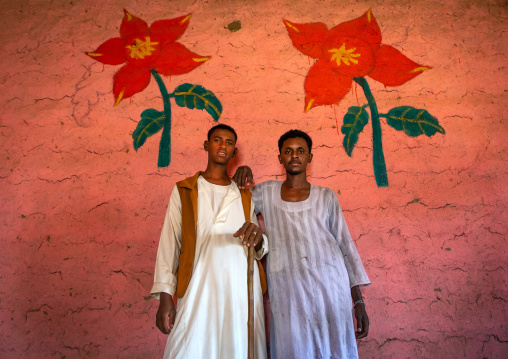 Sudanese men in a restaurant with decorated walls, Kassala State, Kassala, Sudan